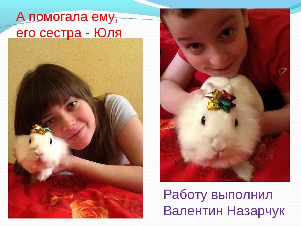 Работу выполнил Валентин Назарчук А помогала ему, его сестра - Юля