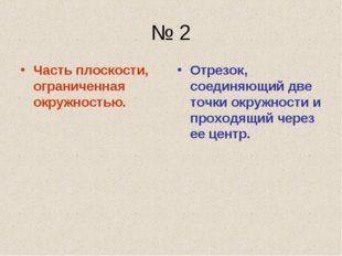 № 2 Часть плоскости, ограниченная окружностью. Отрезок, соединяющий две точки