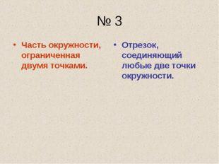 № 3 Часть окружности, ограниченная двумя точками. Отрезок, соединяющий любые
