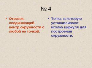 № 4 Отрезок, соединяющий центр окружности с любой ее точкой. Точка, в которую