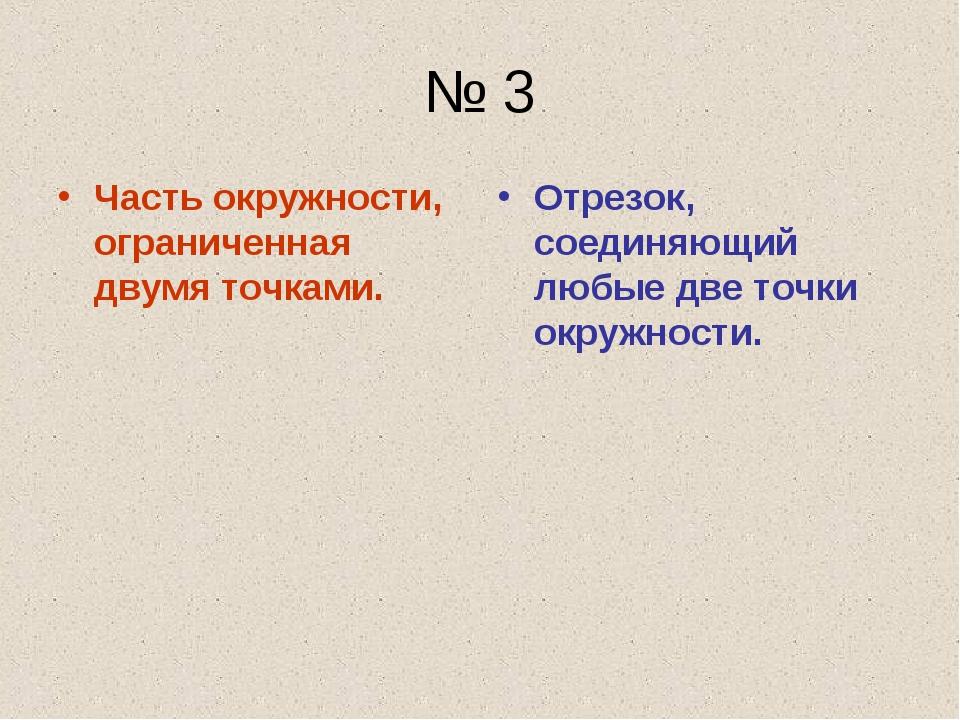 № 3 Часть окружности, ограниченная двумя точками. Отрезок, соединяющий любые...