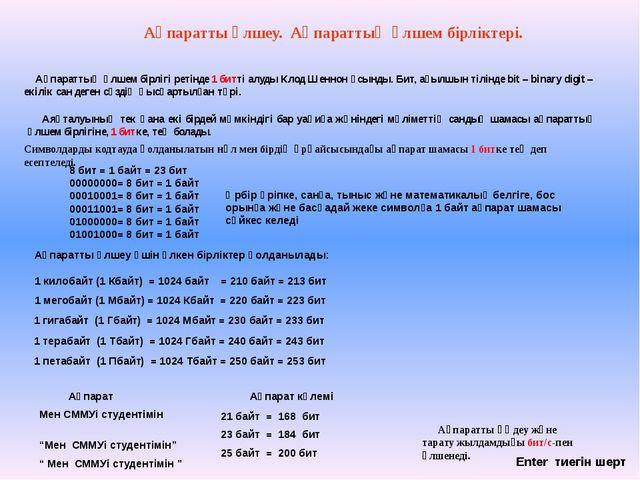 Ақпаратты өлшеу үшін үлкен бірліктер қолданылады: 1 килобайт (1 Кбайт) = 1024...