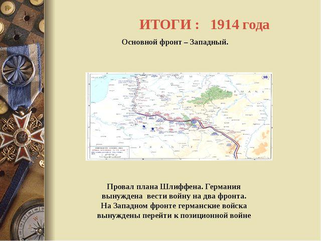 ИТОГИ : 1914 года Основной фронт – Западный. Провал плана Шлиффена. Германия...