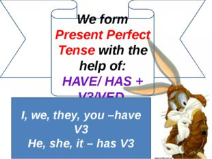 We form Present Perfect Tense with the help of: HAVE/ HAS + V3/VED I, we, the