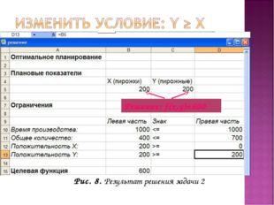 Рис. 8. Результат решения задачи 2 Решение: f(x,y)=600