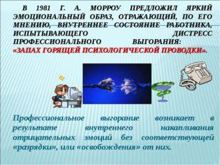В 1981 Г. А. МОРРОУ ПРЕДЛОЖИЛ ЯРКИЙ ЭМОЦИОНАЛЬНЫЙ ОБРАЗ, ОТРАЖАЮЩИЙ, ПО ЕГО