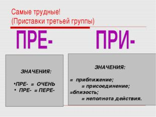 Самые трудные! (Приставки третьей группы) ЗНАЧЕНИЯ: ПРЕ- = ОЧЕНЬ ПРЕ- = ПЕРЕ-
