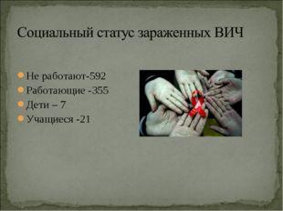Не работают-592 Работающие -355 Дети – 7 Учащиеся -21