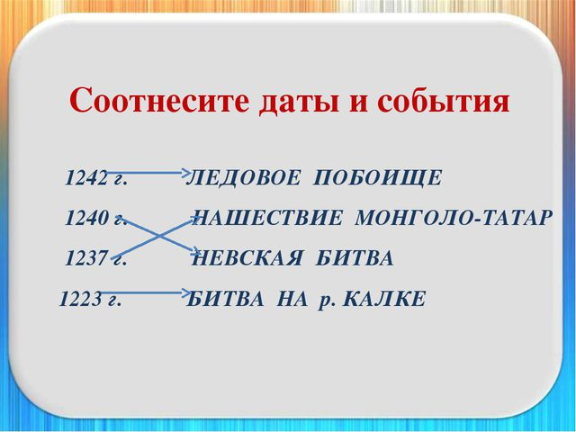 Соотнесите даты и события 1242 г. ЛЕДОВОЕ ПОБОИЩЕ 1240 г. НАШЕСТВИЕ МОНГ...