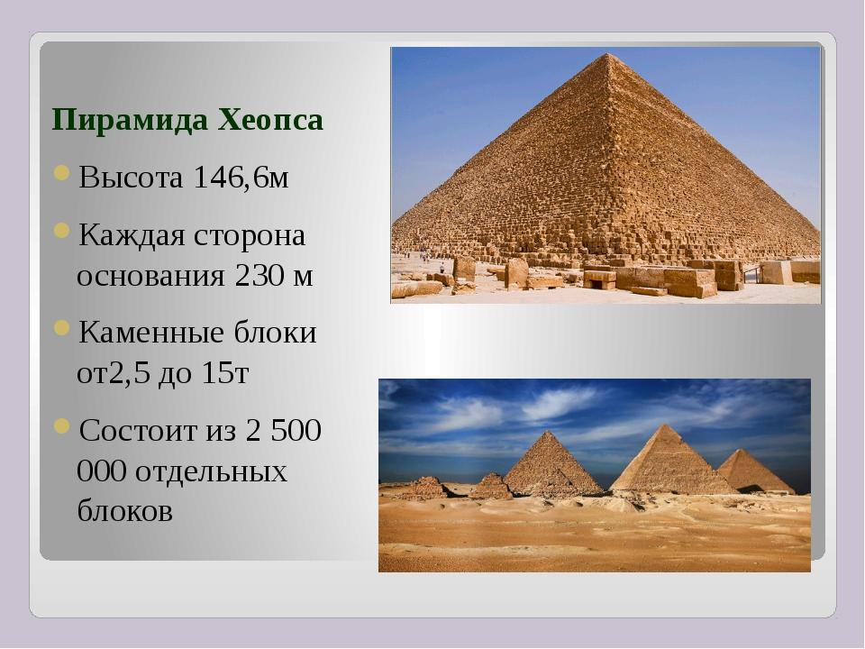 Пирамида Хеопса Высота 146,6м Каждая сторона основания 230 м Каменные блоки...