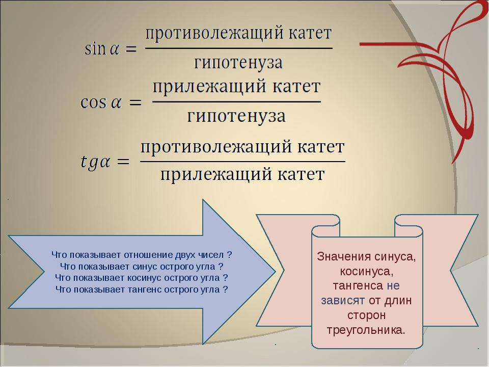 Значения синуса, косинуса, тангенса не зависят от длин сторон треугольника....