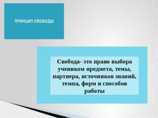 ПРИНЦИП СВОБОДЫ Свобода- это право выбора учеником предмета, темы, партнера,