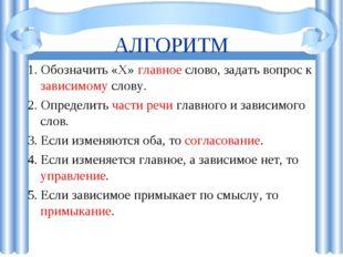 АЛГОРИТМ 1. Обозначить «Х» главное слово, задать вопрос к зависимому слову. 2