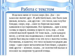 Работа с текстом Исцелило меня от тоски озеро Дос. Дос – по-казахски значит д