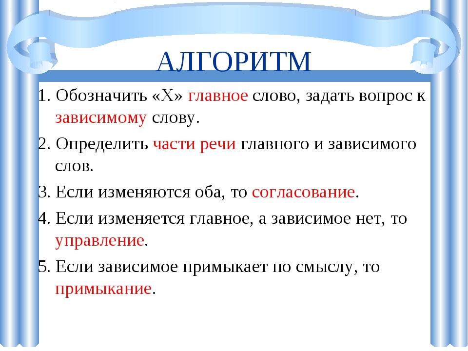 АЛГОРИТМ 1. Обозначить «Х» главное слово, задать вопрос к зависимому слову. 2...