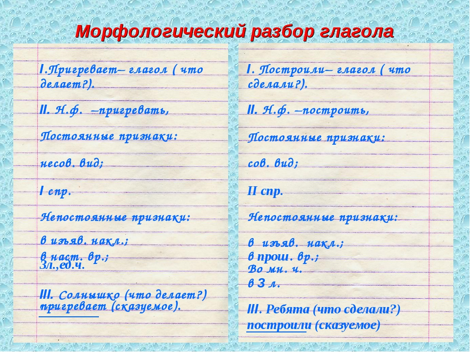 Морфологический разбор глагола