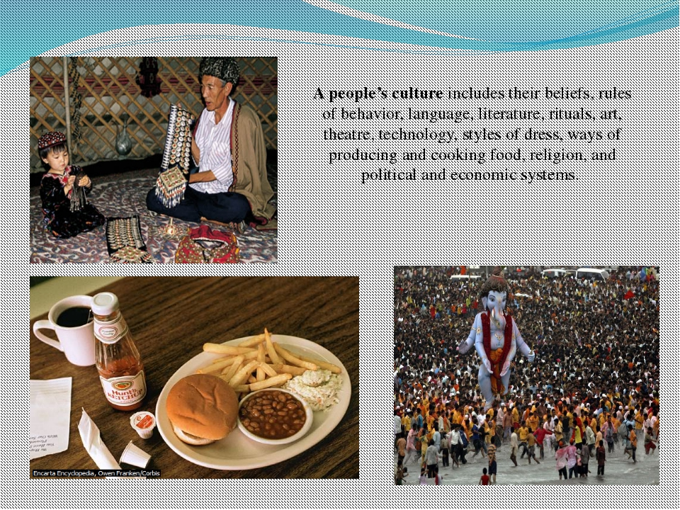 A people's culture includes their beliefs, rules of behavior, language, liter...
