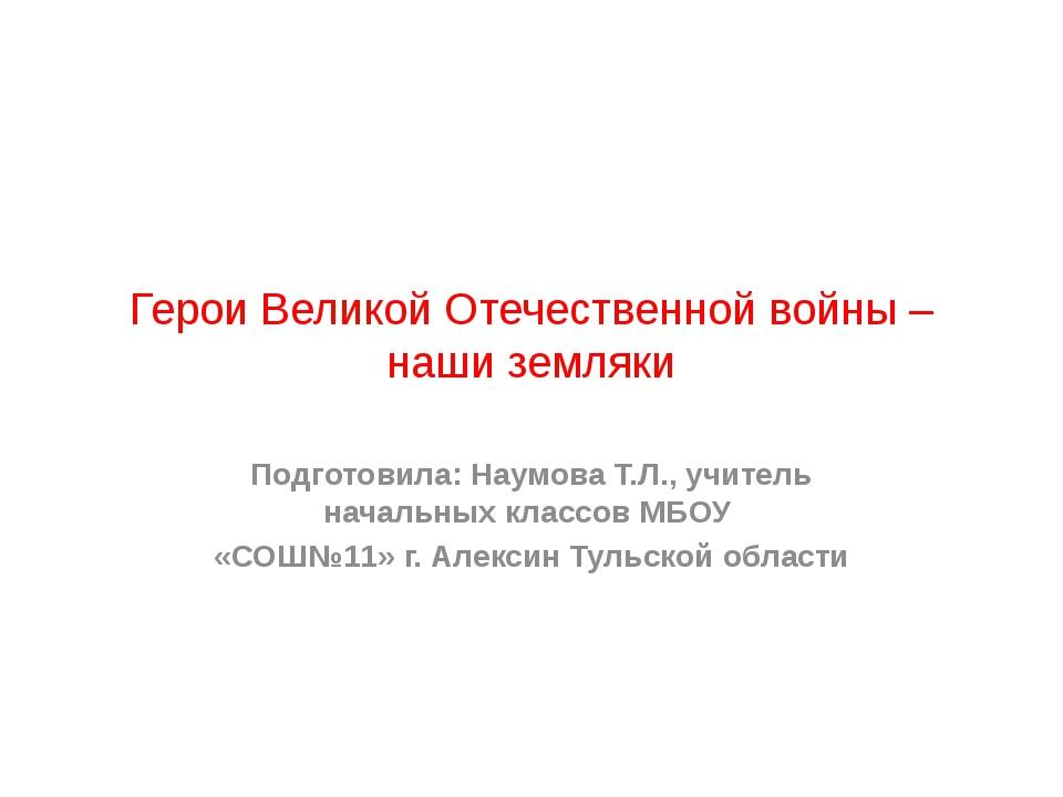 Герои Великой Отечественной войны – наши земляки Подготовила: Наумова Т.Л., у...