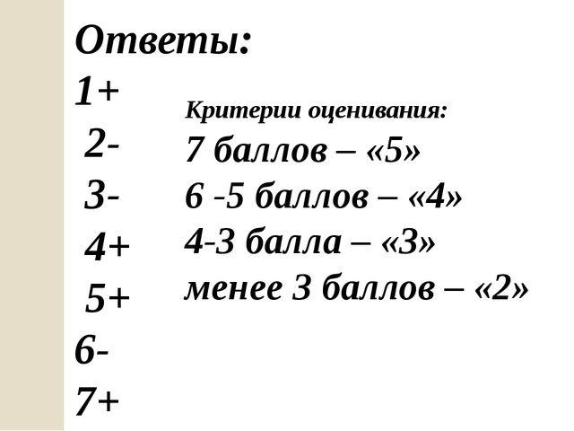 Ответы: 1+ 2- 3- 4+ 5+ 6- 7+ Критерии оценивания: 7 баллов – «5» 6 -5 баллов...
