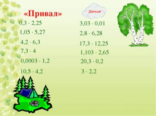 «Привал» 0,3 · 2,25 1,05 ∙ 5,27 4,2 ∙ 6,3 7,3 ∙ 4 0,0003 ∙ 1,2 10,5 ∙ 4,2 3,0
