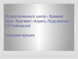 Из фортепианного цикла « Времена года» Фрагмент «Апрель .Подснежник» П.И.Чайк