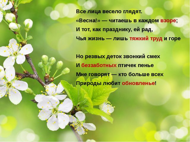 Все лица весело глядят. «Весна!» — читаешь в каждом взоре; И тот, как праздни...