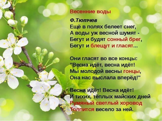 Весенние воды Ф.Тютчев Ещё в полях белеет снег, А воды уж весной шумят - Бегу...