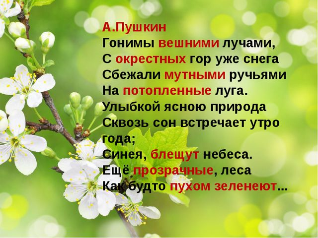 А.Пушкин Гонимы вешними лучами, С окрестных гор уже снега Сбежали мутными ру...
