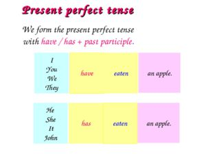 We form the present perfect tense with have / has + past participle. Present