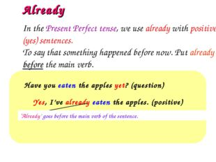 Already Have you eaten the apples yet? (question)  Yes, I've already eaten