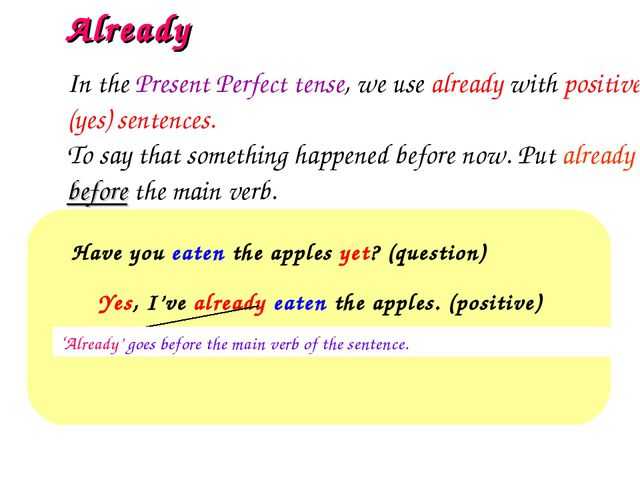 Already Have you eaten the apples yet? (question)  Yes, I've already eaten...