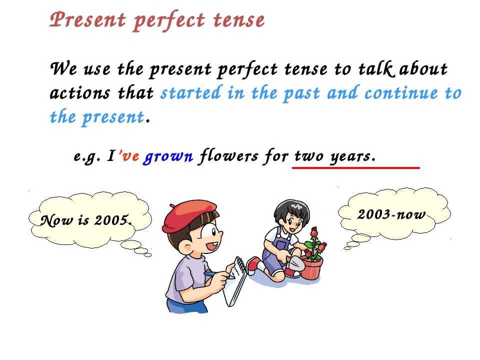 We use the present perfect tense to talk about actions that started in the pa...