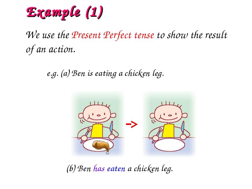 e.g. (a) Ben is eating a chicken leg. (b) Ben has eaten a chicken leg. Exampl...