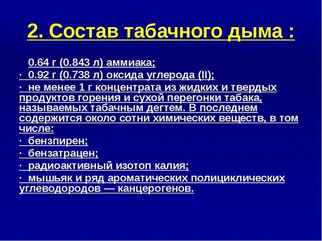 2. Состав табачного дыма : · 0.64 г (0.843 л) аммиака; · 0.92 г (0.738 л) окс...