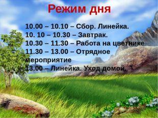 Режим дня 10.00 – 10.10 – Сбор. Линейка. 10. 10 – 10.30 – Завтрак. 10.30 – 11