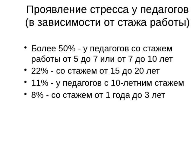 Проявление стресса у педагогов (в зависимости от стажа работы) Более 50% - у...