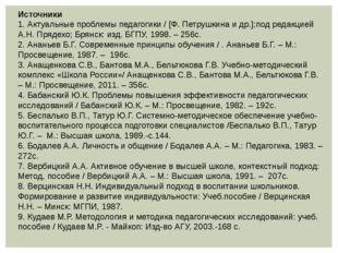 Источники 1. Актуальные проблемы педагогики / [Ф. Петрушкина и др.];под редак