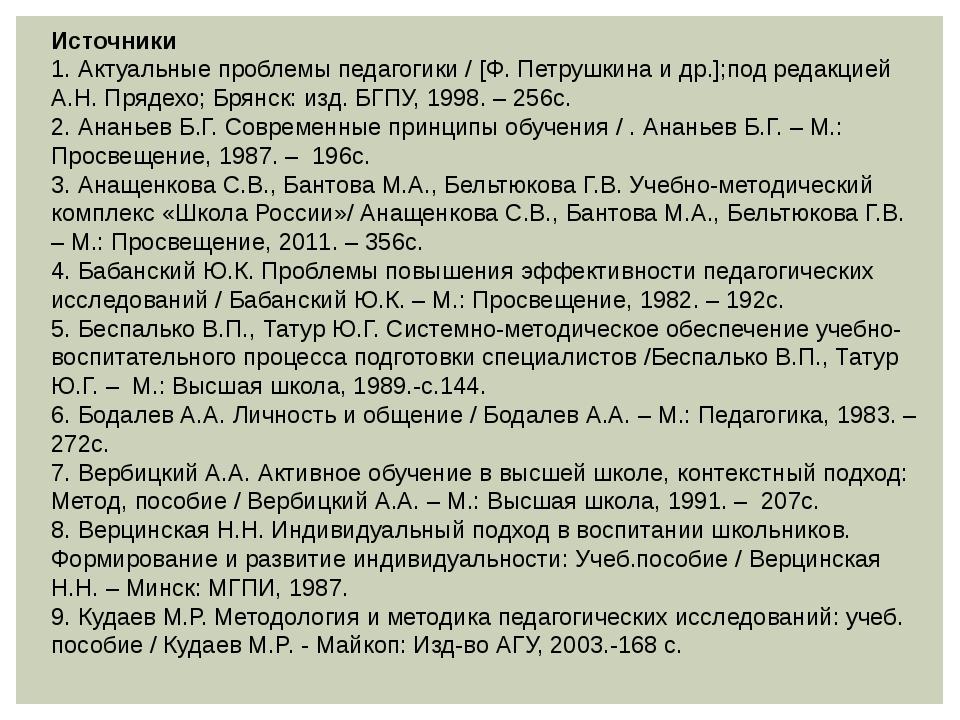 Источники 1. Актуальные проблемы педагогики / [Ф. Петрушкина и др.];под редак...
