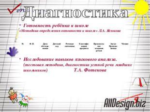 Готовность ребёнка к школе «Методика определения готовности к школе» Л.А. Яс