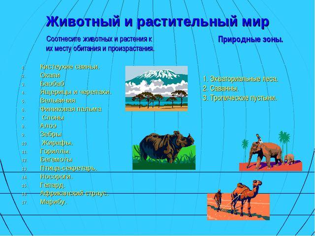 Животный и растительный мир Соотнесите животных и растения к их месту обитани...