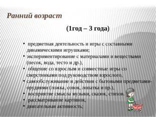 Ранний возраст (1год – 3 года) предметная деятельность и игры с составными ди