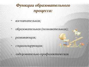 Функции образовательного процесса: воспитательная; образовательная (познавате
