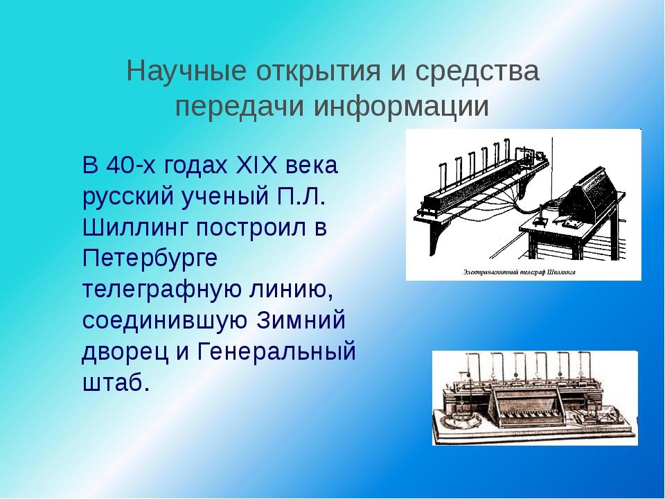 Научные открытия и средства передачи информации В 40-х годах XIX века русски...