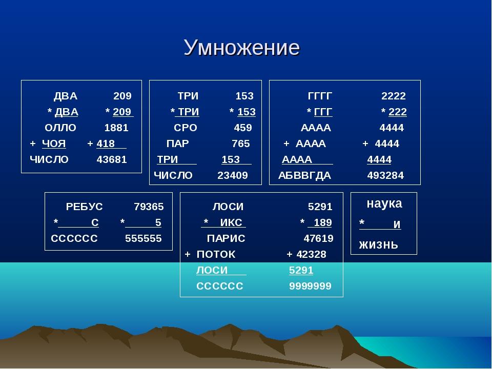 Умножение ДВА 209 ТРИ 153 ГГГГ 2222 * ДВА * 209 * ТРИ * 153 * ГГГ * 222 ОЛЛО...