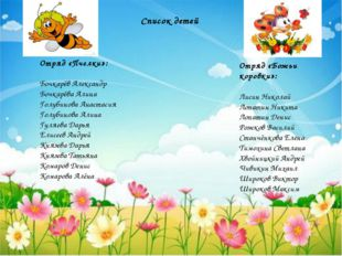 Список детей Отряд «Пчелки»: Бочкарёв Александр Бочкарёва Алина Голубинова Ан