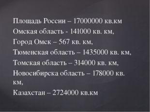 Площадь России – 17000000 кв.км Омская область - 141000 кв. км, Город Омск –