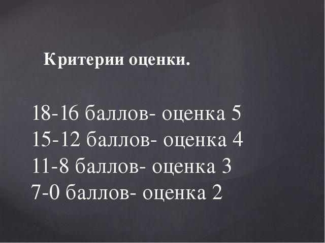 Критерии оценки. 18-16 баллов- оценка 5 15-12 баллов- оценка 4 11-8 баллов- о...