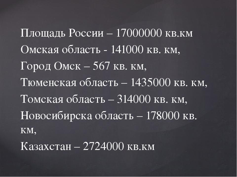 Площадь России – 17000000 кв.км Омская область - 141000 кв. км, Город Омск –...
