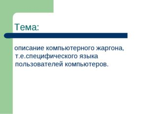 Тема: описание компьютерного жаргона, т.е.специфического языка пользователей