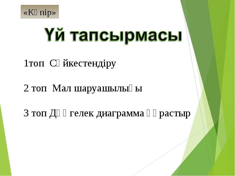 1топ Сәйкестендіру  2 топ Мал шаруашылығы 3 топ Дөңгелек диаграмма құрастыр...
